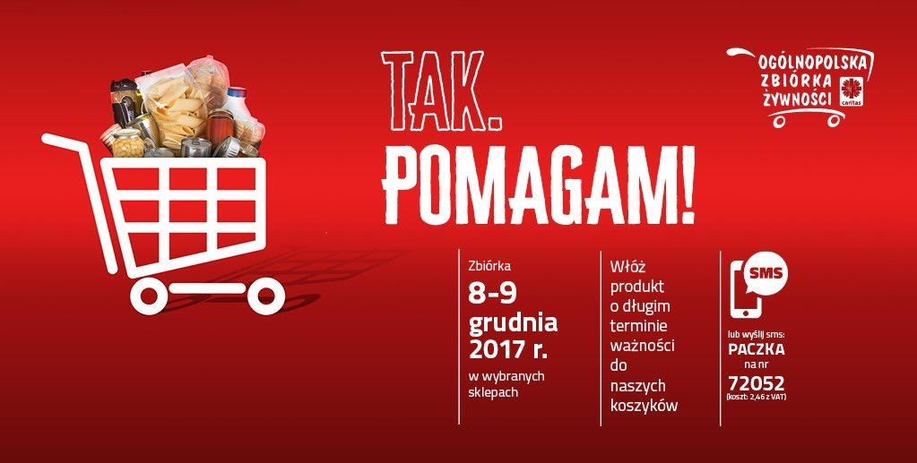Zbiórka żywności TAK POMAGAM! 8 i 9 grudnia