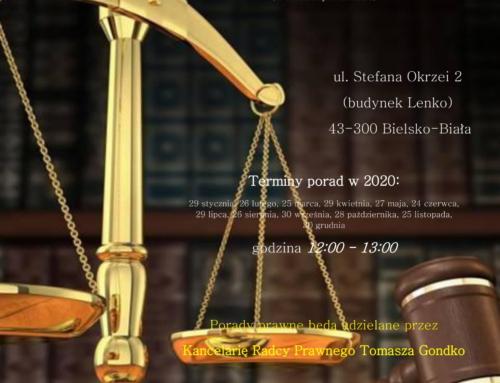 Bezpłatne porady prawne w 2020 roku.