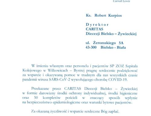 Podziękowania dla Caritas diecezjalnej od Szpitala Kolejowego w Wilkowicach-Bystrej