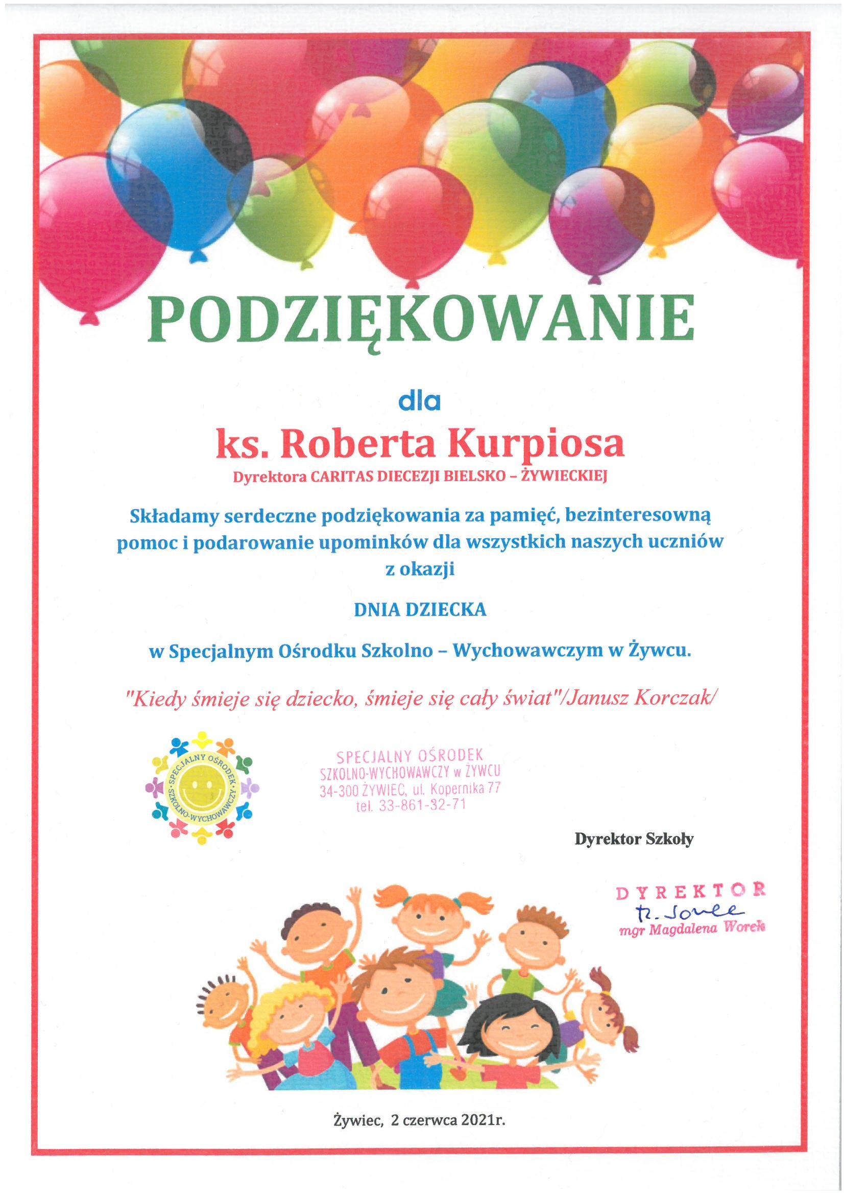 Podziękowanie od Specjalnego Ośrodka Szkolno-Wychowawczego w Żywcu